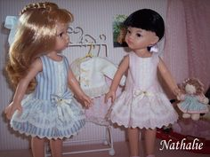 Dasha & Rébecca en bleu et rose. Robes tissu Tilda.
