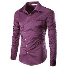 2017 New Male Casual Fashion Men's Autumn Turn Down collar Oblique Button Designed slim fit Formal shirt long sleeve Dress Shirt