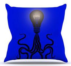 Octopus Bulb Throw Pillow