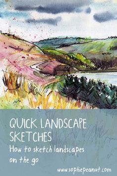 landscape sketching tips Watercolor Painting Techniques, Pen And Watercolor, Sketch Painting, Watercolour Tutorials, Watercolor Ideas, Painting Lessons, Watercolour Painting, Painting Art, Landscape Sketch