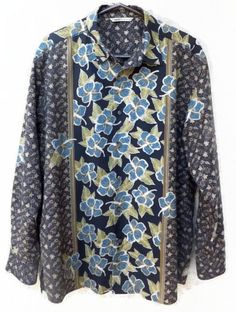 Large Tommy Bahama Hawaiian Long Sleeve Shirt Paisley Hibiscus Silk Blend Mens