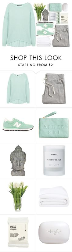 """Stay in bed"" by klajus ❤ liked on Polyvore featuring 360 Sweater, H&M, New Balance, Universal Lighting and Decor, Byredo, Thomasville, Frette, Comodynes, H2O+ and Rodin Olio Lusso"