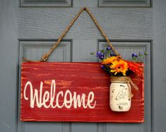 Rustic Outdoor Brown Welcome Outdoor Welcome Sign by RedRoanSigns
