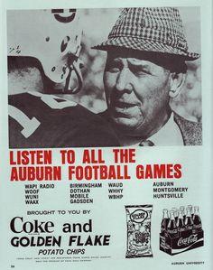 "auburn football shug jordan | ... an ad in the 1970 Auburn vs. Georgia ""Auburn Football Illustrated"