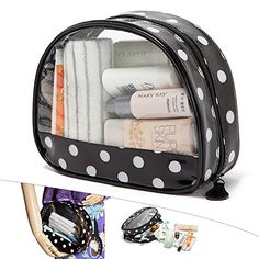Travelmall Travel Toiletry Bag Clear Cosmetics and Toiletries Makeup Organizer Black Point Transperant Cosmetic pouch black >>> You can find more details by visiting the image link.