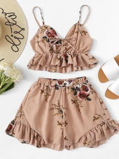 Ruffle Hem Floral Print Cami With Shorts -SheIn(Sheinside) Girls Fashion Clothes, Teen Fashion Outfits, Kids Outfits, Girl Fashion, Fashion Dresses, Womens Fashion, Cute Summer Outfits, Cute Casual Outfits, Cute Sleepwear