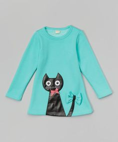 Turquoise Cat Tunic - Infant, Toddler & Girls #zulily #zulilyfinds