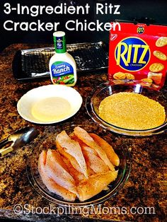 This Easy 3-Ingredient Ritz Cracker Chicken is a great tasting Kid Friendly recipe that's ready in 30 minutes! The chicken is so wonderfully moist and you only need 3 ingredients to make it! My kids were in love with the chicken and there was no left overs in my kitchen. When I told my family what was in it they were shocked and to tell you the truth I was shocked how good it was. To start this easy recipe put your chicken tenders, ranch and crushed crackers in bowls. Then like an assembl...