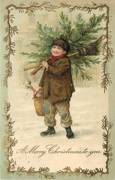 A MERRY CHRISTMAS TO YOU two boys, one has tree & broom, the other a shovel, walk in snow **
