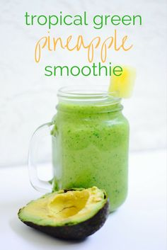 This tropical green smoothie is packed with produce! Pineapple banana avocado and spinach make for a warm weather treat or a perfect healthy way to start your morning For more smoothie information, click the link. Avacado Smoothie, Green Detox Smoothie, Smoothie Drinks, Fruit Smoothies, Healthy Smoothies, Pineapple Smoothie Recipes, Smoothie Cleanse, Juice Cleanse, Detox Drinks