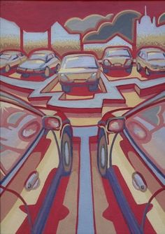 """""""Carpark"""" by Alisa Perks. Gouache painting on paper. Cityscape Art, Art Competitions, Light And Space, Space Time, Gouache Painting, Online Art Gallery, Paper"""