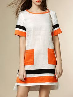 White Casual Linen Color-block Mini Dress