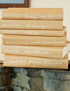 book covers from paper bags and fancy penmanship - neat way to lend uniformity to a bookshelf, so it doesn't look so messy (cluttered bookshelf = one of my pet peeves that drives my hubby nuts).