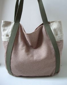 Beach Bag - Linen Tote Bag - Weekend Resort Bag - Neutrals