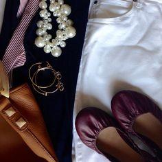 Instagram @headedoutthedoor #ootd | #jcrew shirt/sweater and handbag | #gap jeans | #oldnavy flats | #targetstyle necklace | #hm bracelets