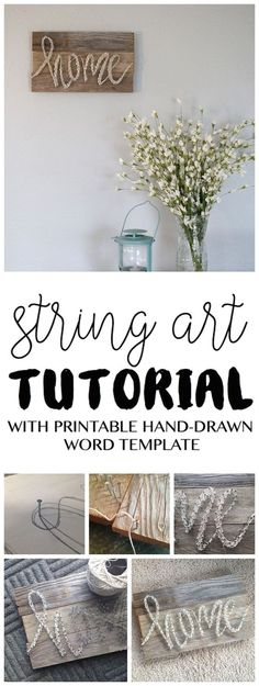 Splendid Always wanting to try out a string art project? Here's an easy tutorial from www.sixcleversist… This DIY home decor pallet sign has detailed instructions and includes a free printable word template.  The post  Always wanting to try out a string art project? Here's  ..