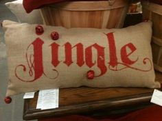 Pottery Barn Jingle Bell Burlap Lumbar Pillow Christmas