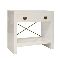 "Worlds Away Dalton Nightstand White Lacquer, 29""h 32""w 16""d Brass X brace White Lacquer, $1122"