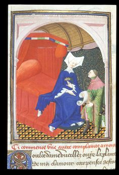 Man kneeling before a woman from  the The British Library