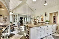 Open Kitchen And Den Ideas | ... Large Island With Breakfast Bar Seating  Open