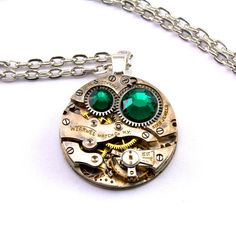 Steampunk Necklace - A Beautiful Vintage clockwork & Emerald Green Swarovski Crystals pendant Design - PROMPTLY SHIPPED Steampunk Jewelry