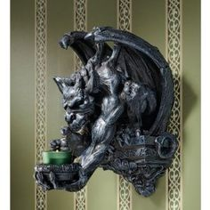 Winged Dragon Gargoyle Wall Sconce Candle Holder