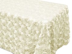 Rosette Satin Table Cloth  Cake Table Cloth Size 90 x 156 and 90 x 132 #Unbranded