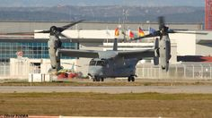 MV-22 Osprey and a KC-130 Hercules from the US Marine Corps at Marseille airport, France. Feb 2015
