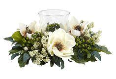 "14"" Magnolia Candelabrum, White on OneKingsLane.com"