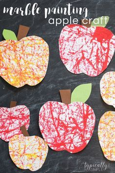 Marble painting is a favorite in our house create these Marble Painting Apple Craft to gear up for back to school with your kids.