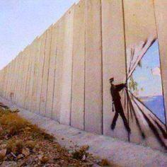 Banksy for Free Palestine...Love this artist...ISRAEL !!!!!! TAKE DOWN THIS WALL !!!!!...kd