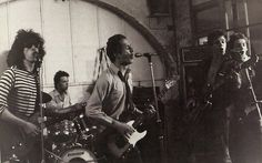 An early photo of The Clash at Rehearsal Rehearsals.