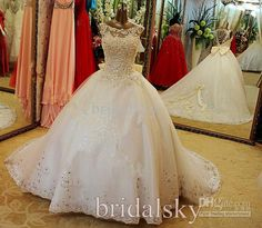 2015 Sheer Bateau Lace Appliques Crystals Pearls Bow Backless A-Line Chapel Train Wedding Dresses Bridal Gowns J-542