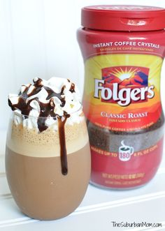 Just because you are in a hurry doesn't mean you can't enjoy a sweet coffee drink - this homemade mocha frappe recipe is ready in less than 5 minutes. Coffee Drink Recipes, Starbucks Recipes, Homemade Mocha Frappe, Mcdonald's Mocha Frappe Recipe, Chocolate Frappe Recipe, Homemade Iced Coffee, Iced Mocha Coffee, Coffee Coffee, Coffee Beans