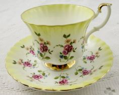 Vintage China Royal Albert Yellow Tea Cup and Saucer with Flowers, Vintage Bone China - China Cups And Saucers, Teapots And Cups, Teacups, Royal Albert, Cup And Saucer Set, Tea Cup Saucer, Vintage Tea, Vintage China, Vintage Yellow