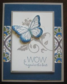 """Cute card using Stampin' Up! Flowering Florishes and a butterfly from the Stampin' Up! """"Best of"""" stamp set"""