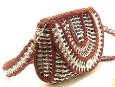 Purse recycled pop tabs fun unique Brown shades Purse with half round flap