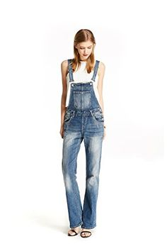 ac9f24eaaac Track Seven Women s Relaxed Fitted Vintage Flare Denim Overalls Blue