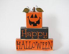 Happy Halloween Pumpkin Wood Block Shelf Sitter