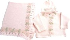 """Brief description:- Hand Made in USA Very delicate hand wash lay flat or Dry Wash Blanket is large 32""""X46"""" Made on hand knitted machine Pink cotton hand crochet finished cardigan hat set and matching blanket for infant girls. These are made with finest quality cotton made in the United States. Price:- $109.99 #handmadebabyclothes #crochetbarbie , #crochetbabie , #crochetideas , #crochetlovies , #handmadeideas , #handmadegifts , #handmadewithlove Crochet Baby Clothes Boy, Handmade Baby Clothes, Hand Crochet, Hand Knitting, Baby Boy Outfits, Kids Outfits, Infant Girls, Knit Cardigan, Delicate"""