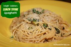 Weight Watchers Lemon Thyme Spaghetti | No Thanks to Cake - - Amazingly fresh, summery side dish!  Perfect with grilled chicken or fish...