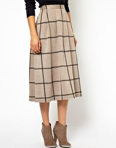 ASOS Full Midi Skirt in Squared Check Print