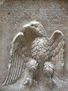 Ancient Roman relief carving of an eagle Courtesy & currently located at the National Museum of Roman Art in Merida, Extremadura, Spain. In Ancient Times, Ancient Rome, Ancient Greece, Ancient Art, Roman Sculpture, Roman Architecture, Roman Emperor, Roman Art, Old Stone