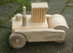 FREE SHIPPING Wooden Toy Steamroller