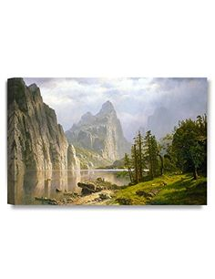DecorArts Merced River Yosemite Valley Albert Bierstadt Classic Art Reproductions Giclee Canvas Prints Wall Art for Home Decor 24x16 *** Want to know more, click on the image.Note:It is affiliate link to Amazon.