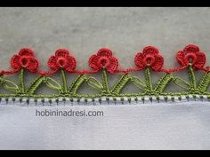 Double Row Red Roses Easy Crochet Lace Making - Crochet Lace Edging, Crochet Borders, Crochet Trim, Easy Crochet, Crochet Stitches, Crochet Baby, Needle Tatting, Needle Lace, Phulkari Embroidery