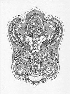 Khmer Tattoo, Thai Tattoo, Thailand Tattoo, Thailand Art, Thai Pattern, Batik Pattern, Temple Tattoo, Bd Art, Thangka Painting