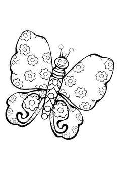 Un papillon avec des ailes à motifs fleurs, dessin à colorier