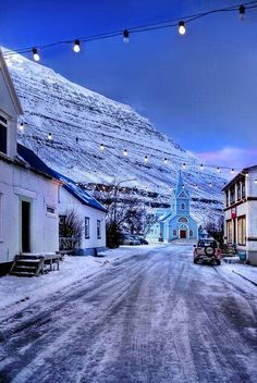Iceland, magical little town at the end of a fjord in the east part of iceland