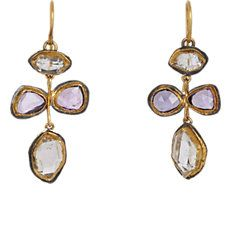 Pink Sapphire & Herkimer Diamond Earrings